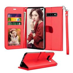 Tekcoo Galaxy S10 / S10 Plus / S10E Wallet Case, for Galaxy S10 / S10+ / S10e Case, Tekcoo [Red] PU Leather [3 Card Slots] ID Credit Flip Cover [Kickstand] Cover & Wrist Strap
