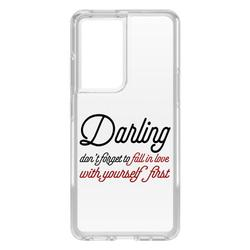 """DistinctInk Clear Shockproof Hybrid Case for Galaxy S21 ULTRA 5G (6.8"""" Screen) - TPU Bumper Acrylic Back Tempered Glass Screen Protector - Darling Don't Forget to Fall In Love with Yourself"""
