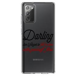 """DistinctInk Clear Shockproof Hybrid Case for Galaxy Note 20 ULTRA (6.9"""" Screen) - TPU Bumper Acrylic Back Tempered Glass Screen Protector - Darling Don't Forget to Fall In Love with Yourself"""
