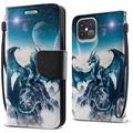 """FINCIBO Kickstand Card Holder Magnetic + Flap Wallet Pouch Cover Case for Apple iPhone 12 Pro Max 6.7"""" 2020 (NOT FIT Apple iPhone 12/12 Pro 6.1"""" 2020/iPhone 12 mini 5.4"""" 2020), Blue Ice Dragon"""