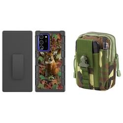 Bemz Armor Holster Samsung Galaxy Note 20 Ultra 5G Phone Case Bundle: Heavy Duty Rugged Protector Belt Clip Cover with 600D Waterproof Nylon Material Tactical Pouch - (Deer Camo/Jungle Camo)