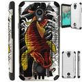 WORLD ACC Silver Guard Phone Case Compatible with Coolpad Legacy SR Legacy S Brushed Metal Texture Hybrid TPU Cover (Red Koi Fish)