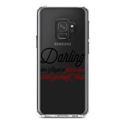 """DistinctInk Clear Shockproof Hybrid Case for Samsung Galaxy S9 (5.8"""" Screen) - TPU Bumper Acrylic Back Tempered Glass Screen Protector - Darling Don't Forget to Fall In Love with Yourself"""