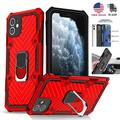 For iPhone 11 Pro Max,iPhone 11 Pro Shockproof Armor Cover Car Mount Magnetic Ring Holder Case