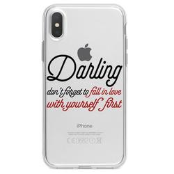 """DistinctInk Clear Shockproof Hybrid Case for iPhone XS Max (6.5"""" Screen) - TPU Bumper Acrylic Back Tempered Glass Screen Protector - Darling Don't Forget to Fall In Love with Yourself"""