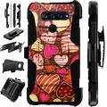 WORLD ACC LuxGuard Holster Case Compatible with LG K51 LG Reflect Hybrid Phone Cover (Chocolate Hearts)
