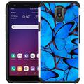LG Tribute Royal / LG Prime 2 / LG Aristo 4+ / LG K30 2019 / LG Arena 2 / LG Escape Plus Case - Colorful Design Hybrid Armor Case Shockproof Dual Layer Protective Phone Cover - Blue Butterfly