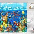 """Tropical Fish Shower Curtain, Blue Ocean Coral Seashell Shower Curtain, Coral Undersea World Shower Curtain Sets, Underwater Fish Shower Curtain, Ocean Animal Shower Curtain Set with Hooks, 69""""X70"""" IN"""