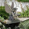 Sitting Fairy Statue, Garden Angel Figure Sitting Fairy Sunflower Angel Garden Statue & Sculptures, Antique Resin Angel Craft Ornament Housewarming Garden Gift, Lawn Art Porch Patio Outdoor Decoration