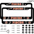 Car License Plate Frame 2 Pcs, Constellation Decorative License Plate Covers Frames Tag, Metal Aluminum Trucks Car Plate Frame Cover with Screw Caps for Men/Women(Pisces)