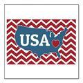 """DistinctInk Custom Bumper Sticker - 8"""" x 8"""" Decorative Decal - White Background - USA Map Heart Chevron Flag"""