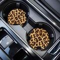 Car Coasters for Drinks Absorbent, Cute Car Coasters for Women, ar Cup Holder Coasters for Your Car with Fingertip Grip, Auto Accessories for Women & Lady,Pack of 2 (Leopard)