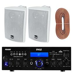 Pyle PDA6BU Amplifier Receiver Stereo, Bluetooth, AM/FM Radio, USB Flash Reader, Aux input LCD Display, 200 Watt With Dual LU43PW Indoor/Outdoor Speakers Bundle With Enrock 50ft 16g Speaker Wire