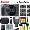 Canon HS Digital Point and Shoot Camera (Black) + Extra Battery + Digital Flash + Camera Case + 128GB Class 10 Memory Card - Intl Model
