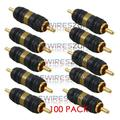 High Quality Gold Plated RCA Male to Male Barrel Connector Adapter (100/pack)