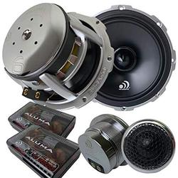 Massive Audio PK6S - 6 Inch, 6.5 Inch, 500w Max, 250w RMS, 4 Ohm, Pro Audio Style Shallow Mount Component Kit for Car Audio Speaker Systems with 72mm Pro Audio Bullet Tweeters (Sold As Pair)