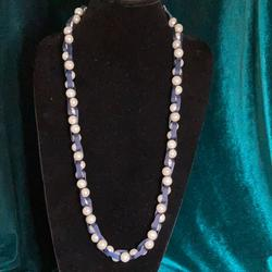 American Eagle Outfitters Jewelry   American Eagle Faux Pearl And Ribbon Necklace   Color: Blue/White   Size: 30