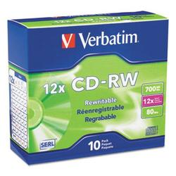 2PK Verbatim CD-RW Discs w/Slim Jewel Cases, 700MB/80min, 10 Discs