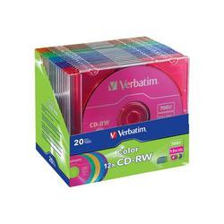 Verbatim cd-rw dl+ brand 20pk 700mb/12x clr slim