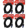 4 Rockville RCSS1425 25' 14 AWG 100% Copper Speakon to Speakon Pro Speaker Cable