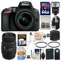 Nikon D5600 Wi-Fi Digital SLR Camera & 18-55mm VR DX AF-P with 70-300mm Lens + 64GB Card + Case + Flash + Battery + Tripod + Filters + Remote Kit