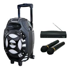 QFX PBX-61081BTBLUE 2,600-Watt Portable Bluetooth Party Speaker & M-336 Wireless Dynamic Microphone System