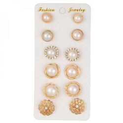 Abcelit 6 Pairs Of Woman Stud Earrings Sets Round Flower Lady Earrings Trendy Stud Earring Woman for Party Wearing