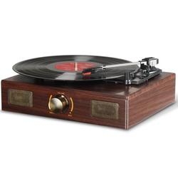 LuguLake Vinyl Record Player Turntable with Stereo 3-Speed and RCA Output Amplifier, Vintage Phonograph with Retro Wooden Finish