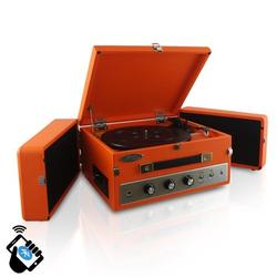 Pyle Home Retro Vintage Classic Style BT Turntable Record Player with Vinyl-to-MP3 Recording- Orange
