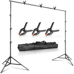 LS Photography 10 feet Wide 9.4 feet Tall Adjustable Background Muslin Support Structure System Stand and Cross Bar for Screen Backdrop with 3 Pack of Support Clamps, Stable Thick Pole, WMT1007