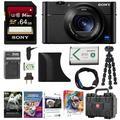 Sony DSC-RX100 V Cybershot Digital Camera + AGR2 Grip + 64GB Card + Hard Case + Accessory Bundle