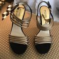 Michael Kors Shoes | Michal Kor Heeled Dress Shoes | Color: Black/Gold | Size: 9.5