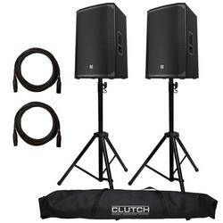 """(2) Electro-Voice EKX-15P 15"""" Two-Way Powered Speakers with Clutch CL-STPACK Heavy Duty Stands Package"""