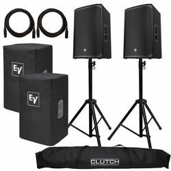 """(2) Electro-Voice EKX-15P 15"""" Powered Speakers with Clutch Heavy Duty Stands & Speaker Covers Package"""