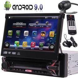 Android 9.0 In Dash Headunit Single Din DVD/CD Player 7 Inch Car Stereo Receiver GPS Navigation AM/FM/RDS Radio USB/TF with Capacitive Touchscreen, Remote Control, Extrenal Microphone, Rear Camera
