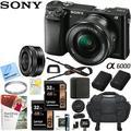 Sony Alpha a6000 Mirrorless Digital Camera 24.3MP SLR (Black) w/ 16-50mm Lens ILCE-6000L/B with Extra Battery Case + 2x Lexar Professional 633x 32GB SDHC/SDXC UHS-I Card Bundle