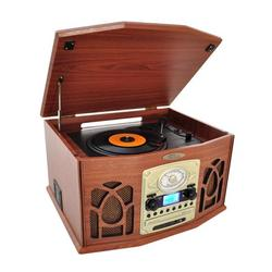 Pyle BT Vintage Style Turntable Record Player with Vinyl-to-MP3 Recording