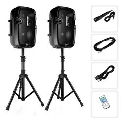 """Active + Passive PA Speaker System Kit - Dual Loudspeaker Sound Package, 8"""" Subwoofers, BT Wireless Streaming, Includes (2) Speaker Stands, Wired Microphone, Remote Control, 700 Watt"""