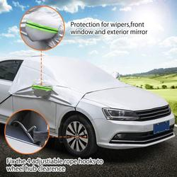 Car Windshield Sun Sun Shade, Car Sun Shade And Mirror Covers Used for Storage Pouch Sun UV Rays Ice Frost Windshield Cover Wind Proof Car Cover in All Weather, Fit for Cars, Trucks, SUV,