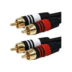 Monoprice Premium RCA Cable - 100 Feet - Black 2 RCA Plug to 2 RCA Plug, Male to Male, 22AWG