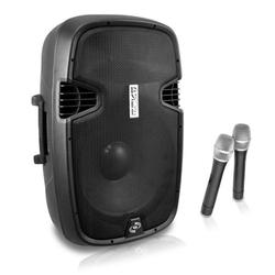 """""""Portable PA Bluetooth Speaker System - 1000W Active Powered Home Outdoor Speaker w/ 12"""""""" Subwoofer 1.3"""""""" Tweeter, Rechargeable Battery, Wheels, USB SD, 2 Wireless Microphone, Remote - Pyle PPHP129WMU.5"""""""