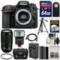 Nikon D7500 Wi-Fi 4K Digital SLR Camera Body with 70-300mm VR AF-S Lens + 64GB Card + Battery & Charger + Case + Tripod + Flash + Kit
