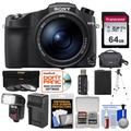 Sony Cyber-Shot DSC-RX10 IV 4K Wi-Fi Digital Camera with 64GB Card + Case + Flash/Video Light + Battery + Charger + Tripod + 3 Filters + Kit
