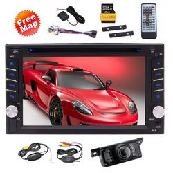 Double Din 6.2 inch Car Radio LCD Touch Screen In-Dash Car Stereo Head Unit with GPS Navigation Support RDS Radio FM AM USB SD SWC Remote Control Bluetooth Colorful Button+Wireless Camera