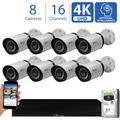 GW 16 Channel 4K NVR 8MP (3840x2160) H.265+ Sony Starvis Starlight Smart AI Security Camera System - 8 x UltraHD 4K Human Detection PoE IP Bullet Camera - 8MP (Two Times the Resolution of 4MP HD)