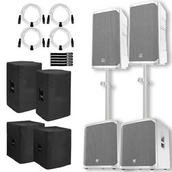 """(2) Electro-Voice ELX200-12P-W 12"""" 2-Way White Powered Speakers with 18"""" White Powered Subwoofers Package"""