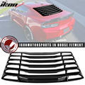 Compatible with 16-21 Chevy Camaro IKON Rear Window Louver Sun Shade Cover Windshield Vent - Glossy Black 2016 2017 2018 2019 2020