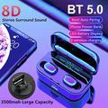 Mini Wireless Bluetooth Earphone Bluetooth 5.0 LED Digital Display 3500mAh Charging Box Wireless Charging Stereo In Ear IPX7 Waterproof Wireless Ear Buds Earphone Black
