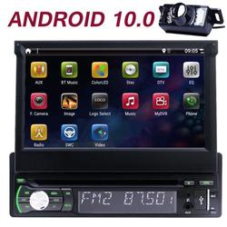 Android 10.0 Single Din Car Stereo with GPS Navigation 7 Inch Touch Screen Car Bluetooth Radio with Backup Camera support DVD Player External Mic WiFi Mirror Link USB/SD AM/FM/RDS Wireless Remote