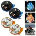 115DB Super Loud Train Horn With Ambient Light for Truck Train Boat car Air Electric Snail Single Horn,12v Waterproof Motorcycle Snail Horn for Trucks, Cars, Motorcycle, Bikes & Boats - Blue/Orange